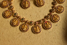 Semi Precious Kemp Stones Studded Matte Finish Mahalakshmi Floral Coin Necklace