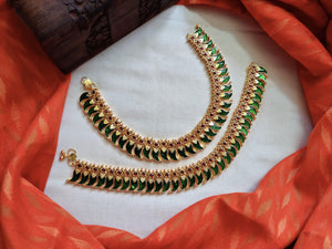Antique Gold Palakka Anklets - Green