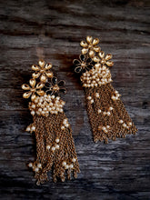Floral Pearl Cluster Tassel Statement Earrings