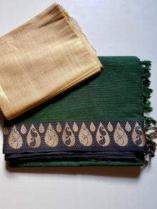 Striped South Cotton Saree - Green