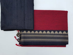 Plain South Cotton Saree - Wine