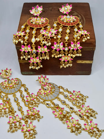 Lotus Flare Drops Long Meenakari Earrings