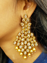 Polki Stones Long Bollywood Antique Gold Earrings