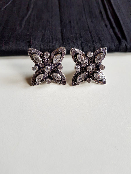 German Silver Stone Flower Studs