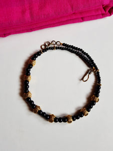 Antique Gold Owl Glossy Black Beads Choker