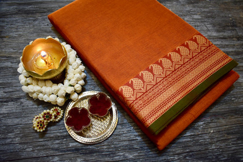 Traditional Mango Border Chettinad Cotton Saree