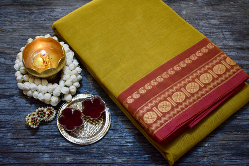 Mango Rudraksham Border Chettinad Cotton Saree