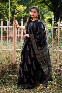 Gold Handblock Printed Maheshwari Cotton Silk Saree - Black