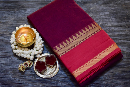Small Korvai Border Chettinad Cotton Saree