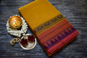 Temple Korvai Mayil Border Chettinad Cotton Saree