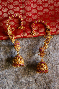Matte Finish Ruby Stones Studded Jhumkas With Ear Cuffs