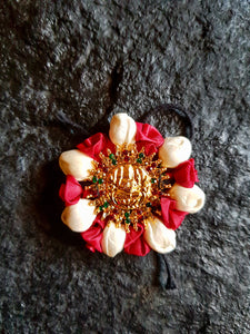 Mahalakshmi Stone Studded Artificial Flower Jada Billas - Malli & Deep Red Rose