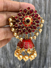 Hand Painted Meenakari Kemp Flower Stud Jhumkas - Red