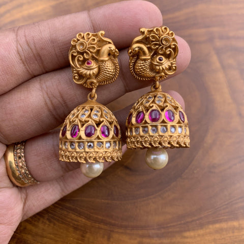 Real Kemp & AD Stones Studded Matte Finish Traditional Annapakshi Jhumkas