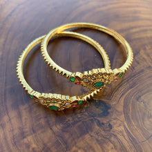 Load image into Gallery viewer, Micro Gold AD Mogappu Bangles - Happy Pique