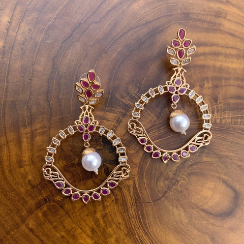 Rosegold Big Hoops Pearl CZ Earrings