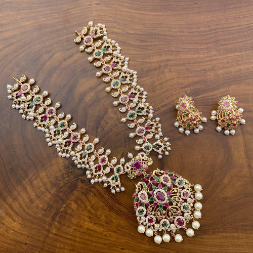 AD Stones Studded Guttapusalu Rani Necklace - Happy Pique