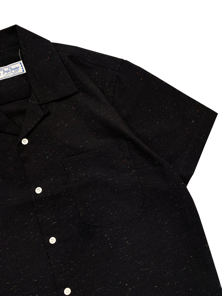 Rainbow Slub Linen Black Shirt