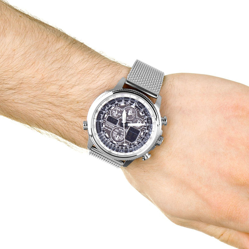Citizen Navihawk A-T Alarm Chronograph Radio Controlled Eco-Drive Watch JY8030-83E