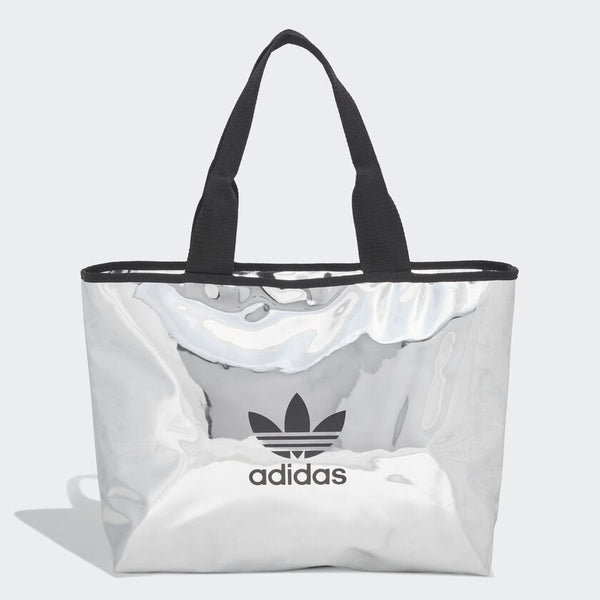 Adidas shiny mirror metallic fabric Shopping Bag with zip