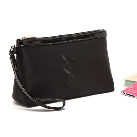 Japanese magazine gift YSL black Clutch bag with zipper