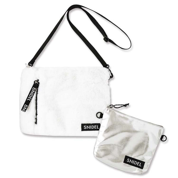 apanese magazine gift Snidel sliver + white fur bag crossbody bag set