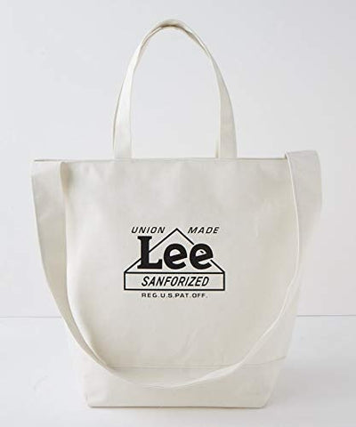 Japanese magazine gift Lee 2 way white Tote Bag with zipper
