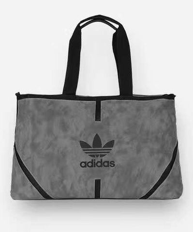 Adidas Grey Faux leather Breathable Zipper sports bag with zipper