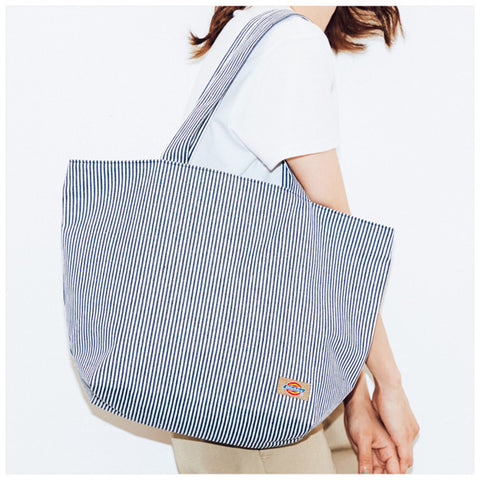 Japanese magazine gift Dickies White/Blue stripe Shoulder Bag with zipper