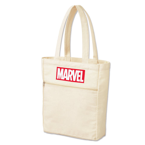 Japanese magazine gift Marvel Beige tote bag with zipper outside