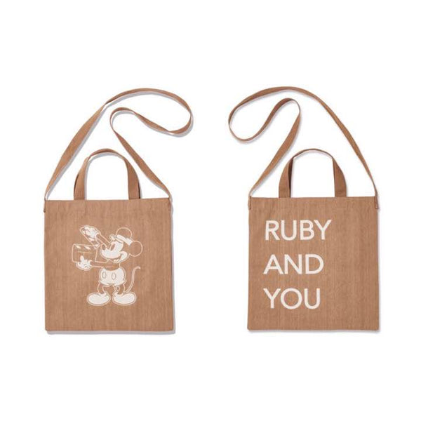 Japanese magazine gift Mickey Mouse X Ruby & You Brown tote bag