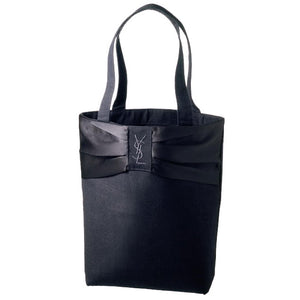 Japanese magazine gift YSL embroidery Logo All Black Canvas tote bag