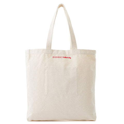 GUESS x Hello Kitty riangle Logo 2Way Canvas Tote Bag Ivory