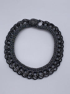 Crochet and Up Cycled Collar Necklace