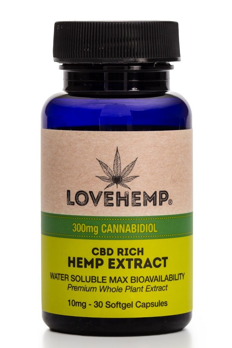 Love Hemp 300mg CBD gel capsules
