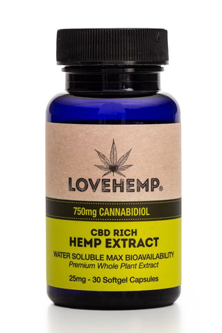 Love Hemp 750mg CBD gel capsules