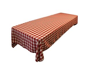 La Linen Polyester Gingham Checkered Rectangular Tablecloth, White/Red, 60 X 84