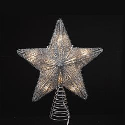 Kurt Adler Star Glitter Treetop With Ul Miniature Lights, 10-Inch, Silver