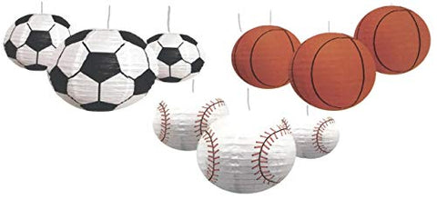 Sports Balls Paper Lanterns Variety Bundle Of Nine For Party Decorations, Team Events, Sports Themed Parties, Home And Office Decor: Three Each Soccer Ball, Basketball And Baseball