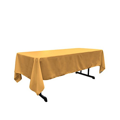 La Linen Polyester Poplin Rectangular Tablecloth, 60 By 102-Inch, Gold