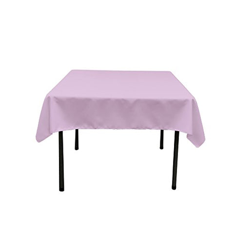 La Linen Polyester Poplin Square Tablecloth, 58 By 58-Inch, Lilac