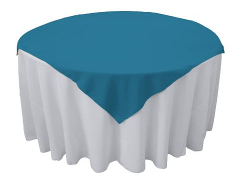 La Linen Polyester Poplin Tablecloth, 58 By 58-Inch, Turquoise