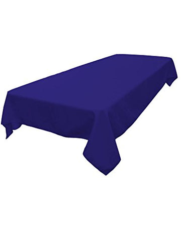 La Linen Polyester Poplin Rectangular Tablecloth, Royal, 60 X 84