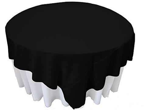 La Linen Polyester Poplin Square Tablecloth, 90 By 90, Black