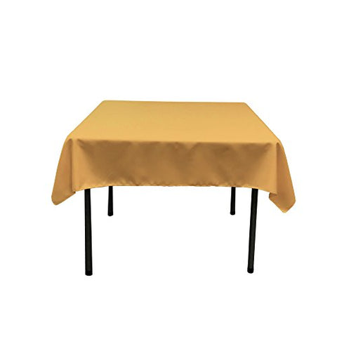La Linen Polyester Poplin Square Tablecloth, 52 By 52-Inch, Gold