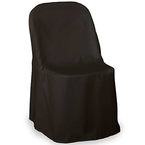Lann'S Linens Premium Polyester Folding Chair Cover - For Wedding Or Banquet Use - Black- 10Pcs