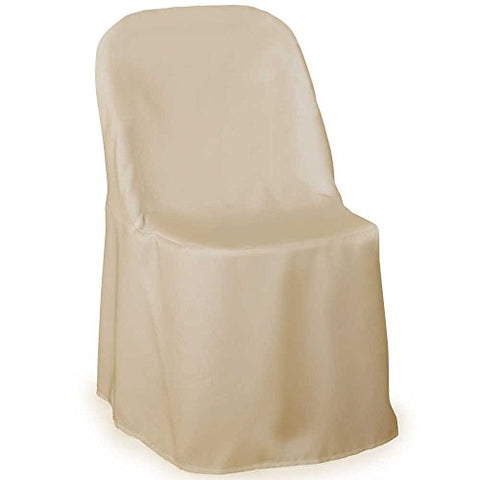 Lann'S Linens Premium Polyester Folding Chair Cover - For Wedding Or Banquet Use - Ivory - 10Pcs