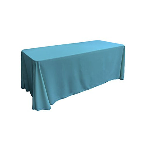 La Linen Polyester Poplin Rectangular Tablecloth, 90 By 132-Inch, Turquoise Dark