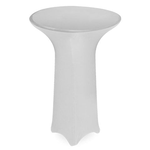 Lann'S Linens Fitted Round Standing Caf Spandex Tablecloth - 36 In. White