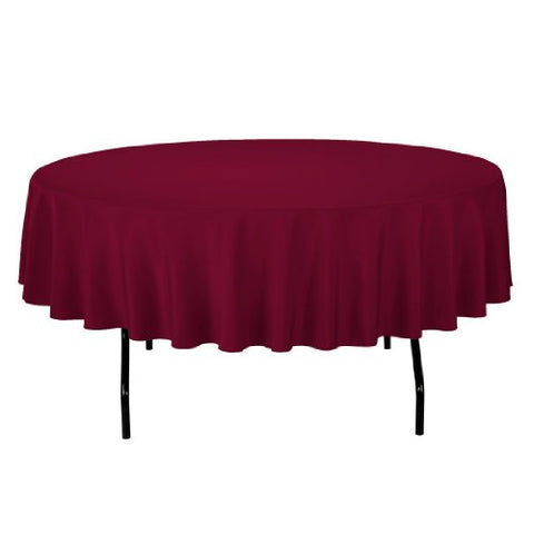 Linentablecloth 90-Inch Round Polyester Tablecloth Burgundy